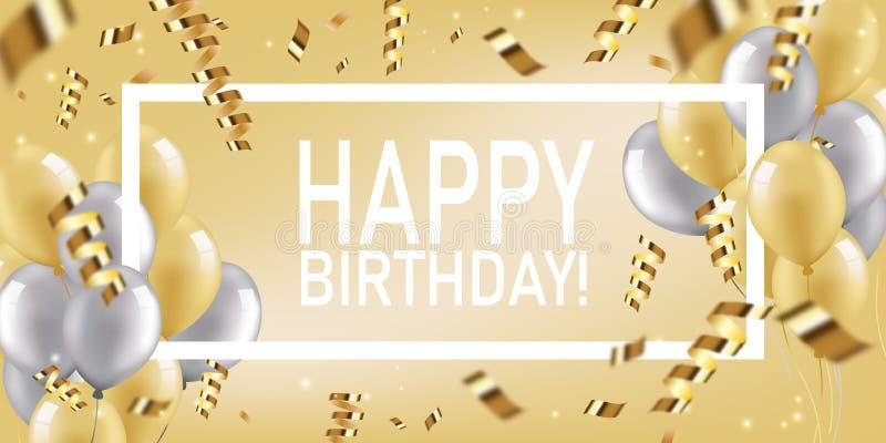 Festligt kort för lycklig födelsedag med guld- och silverballonger med band och konfettier Realistiska uppblåsbara bollar för vek vektor illustrationer