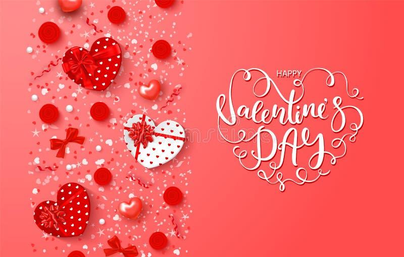 Festligt kort för lycklig valentindag Bakgrund med gåvaaskar i hjärtaform, rosor, pilbågar, slingrande och härligt royaltyfri illustrationer