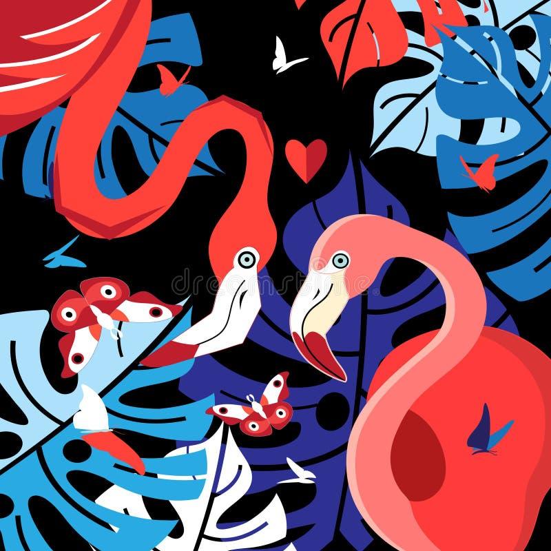 Festligt kort med röda flamingo royaltyfri illustrationer