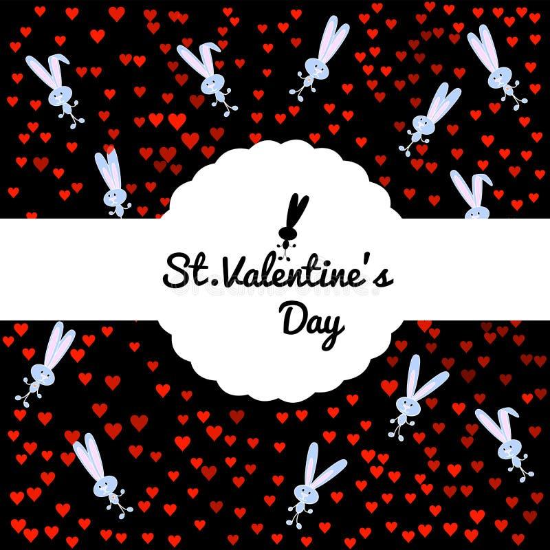 Festligt kort på svart bakgrund med en gullig grå kanin och konfettier från röda hjärtor Rund sniden gränsask med det vita bandet stock illustrationer