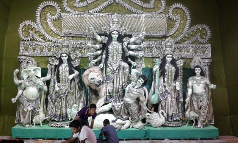Festligt lynne av Durga Puja i Kolkata arkivbild