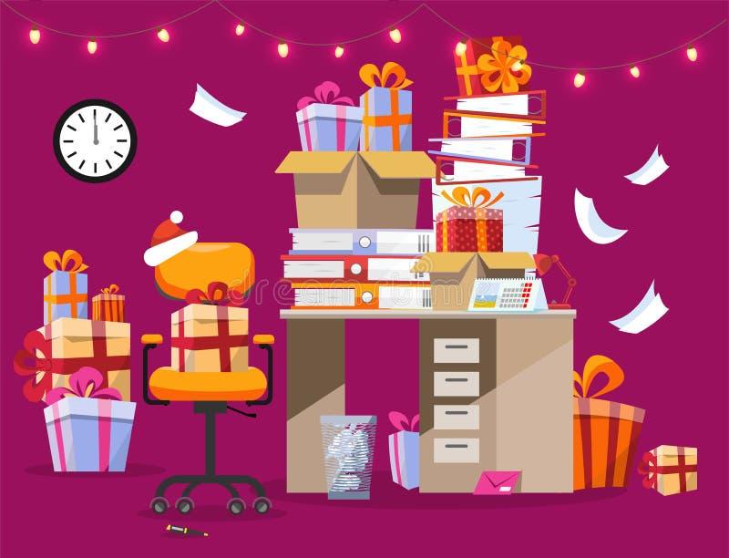 Festligt lynne i kontoret Jul som är inre med skrivbordet som det finns högar av gåvor och mappar på med pappers- blandat girland royaltyfri illustrationer