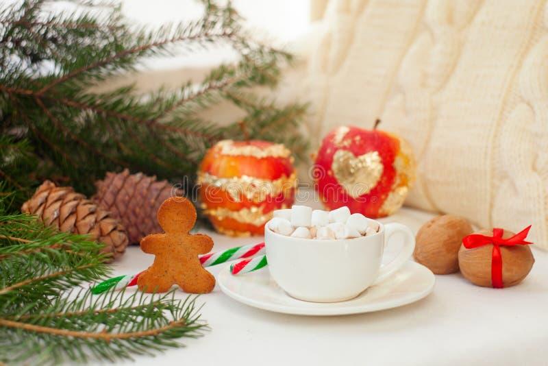 Festligt nytt år och julgarnering på vit bakgrund, kopp av kakao med marshmallowen, ljust rödbrun brödkakor och jul arkivbilder