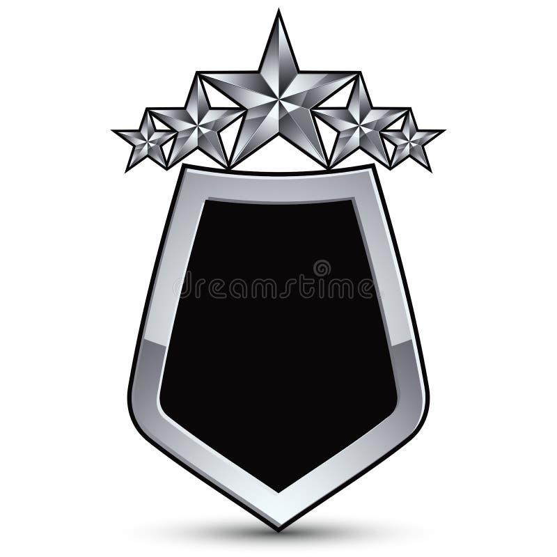 Festligt svart vektoremblem med översikts- och silverstjärnor stock illustrationer