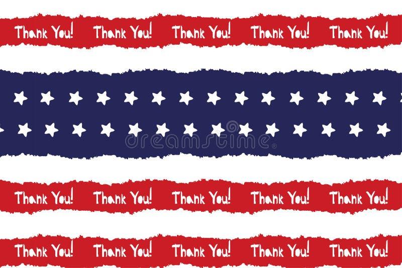Festligt tacka dig affischen i USA f?r nationella f?rger r?da vita bl?tt Remsor och stj?rnor, stor id? f?r fyrverkerier f?r att d vektor illustrationer