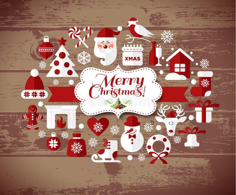 Festmåltid av jul vektor för set för tecknad filmhjärtor polar royaltyfri illustrationer