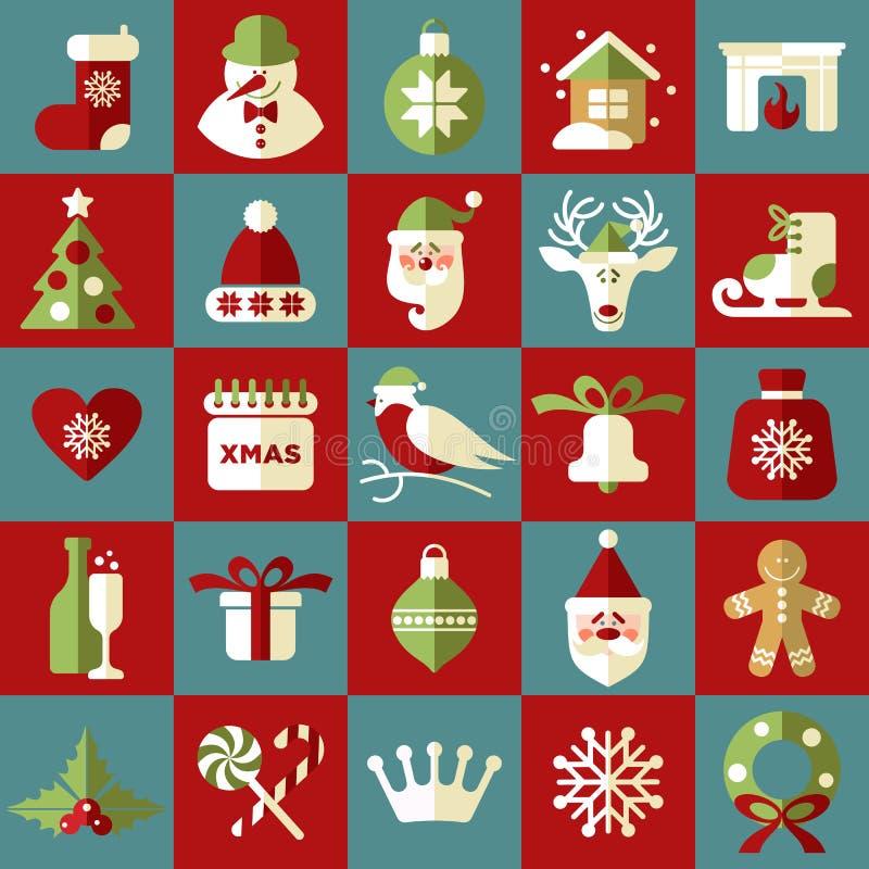 Festmåltid av jul Vektoruppsättning av symboler vektor illustrationer