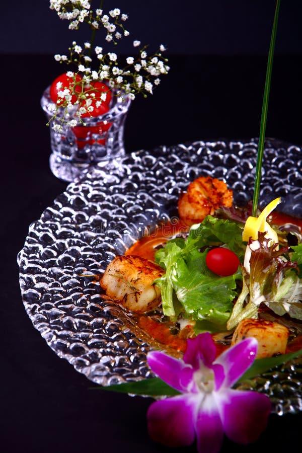Festons grillés avec de la sauce à teriyaki photographie stock libre de droits