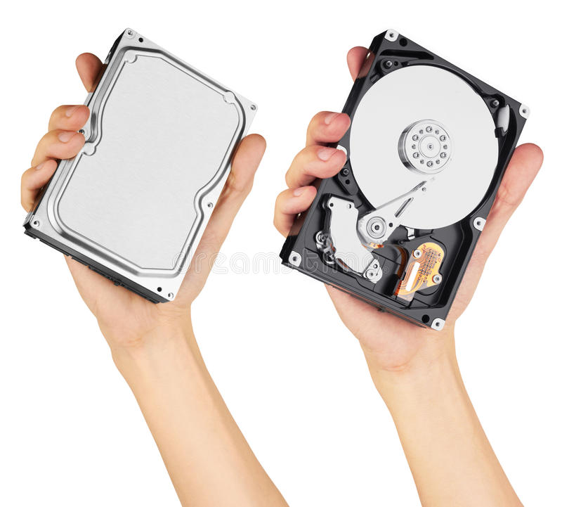 Festplatte in der Hand lizenzfreie stockfotos