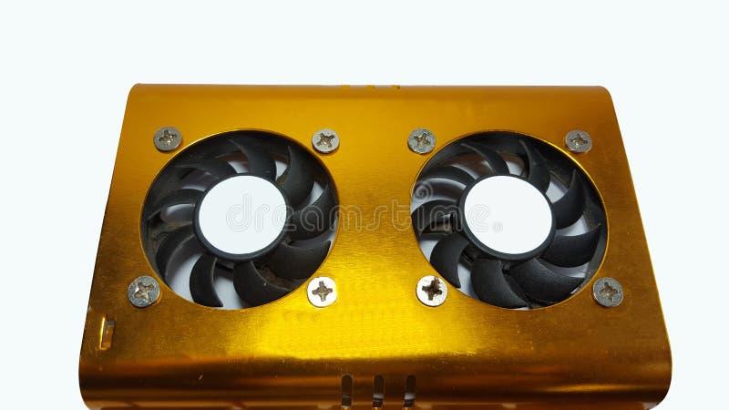 Festplattenlaufwerk des Ventilators mit einer Vielzahl von gelbes Goldfarben stockfotos