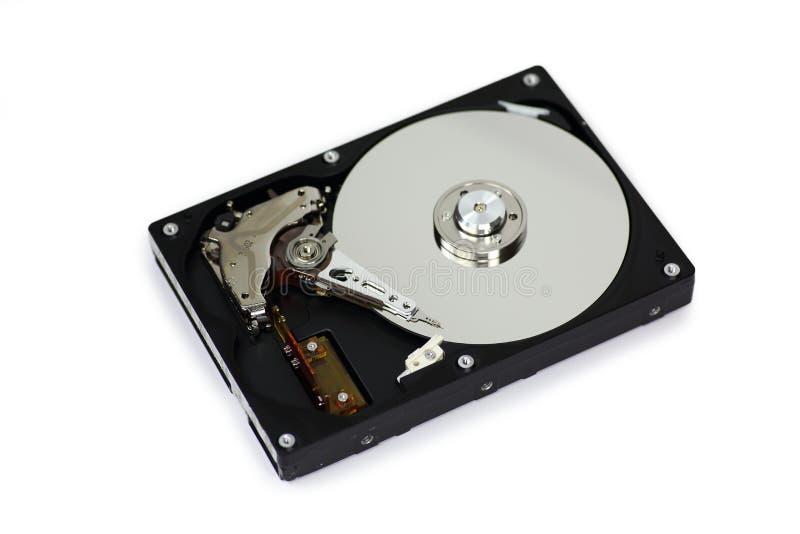 Festplattenlaufwerk HDD mit offenem der oberen Abdeckung lokalisiert auf weißem Hintergrund stockfotos