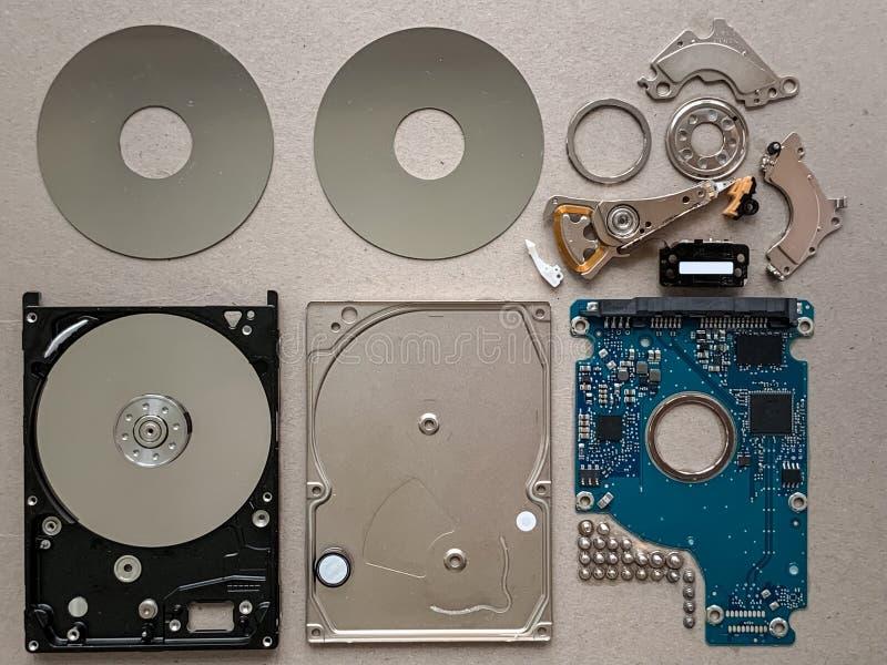 Festplattenlaufwerk-Komponenten stockbild
