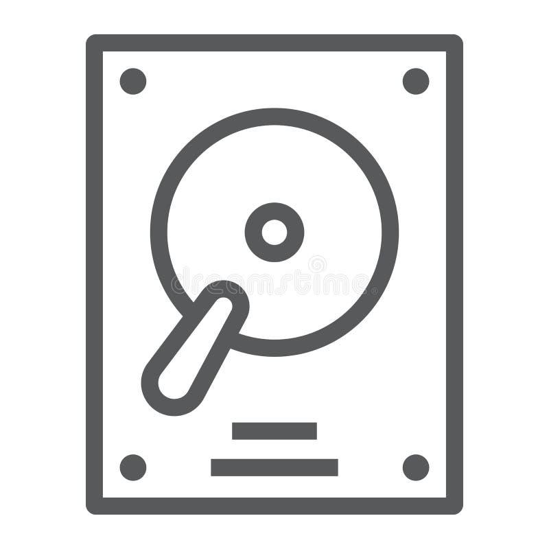 Festplattenlinie Ikone, elektronisches und Gerät, hdd lizenzfreie abbildung