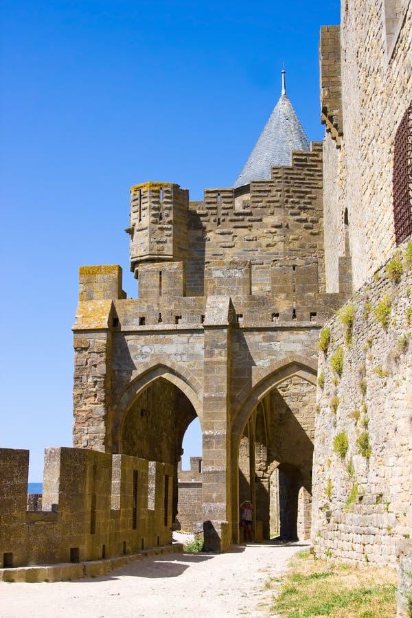 Festung Carcassonne im Sommer, Languedoc, Frankreich stockfotos