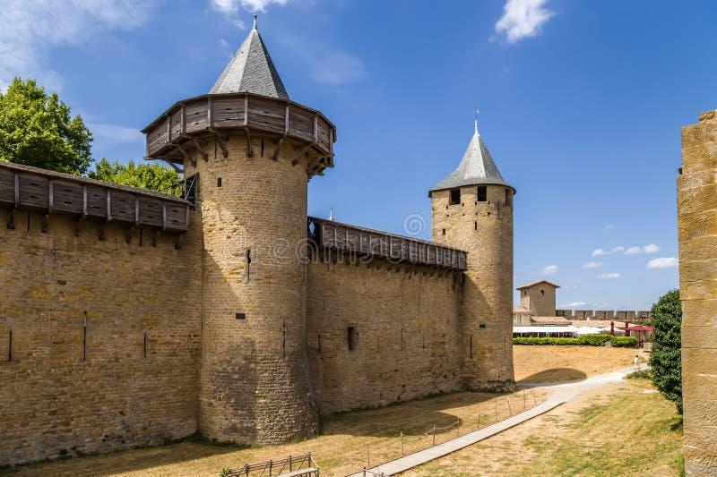 Festung Chateau Comtal Carcassonne in Frankreich UNESCO-Liste lizenzfreies stockfoto