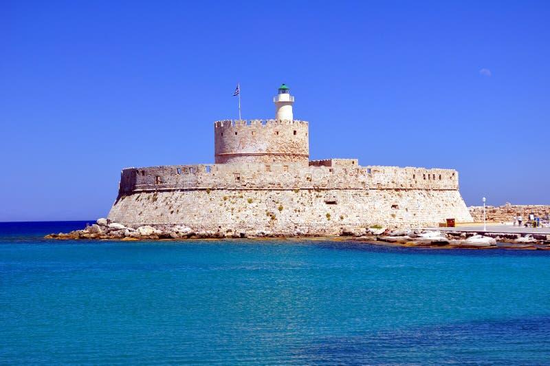 Festung des Heiligen Nicholas, Rhodos. lizenzfreie stockfotografie