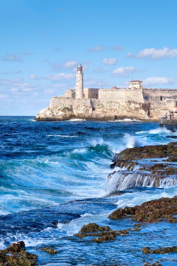 Festung EL Morro in Havana während eines tropischen Sturms lizenzfreies stockfoto