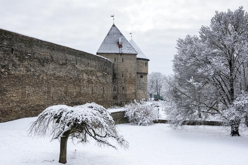 Festungswand von Tallinn lizenzfreie stockfotos