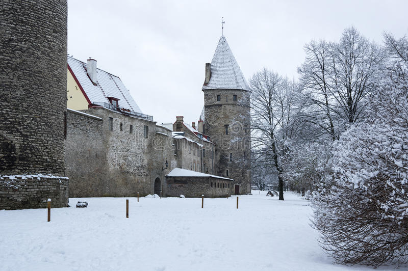 Festungswand von Tallinn stockfotos