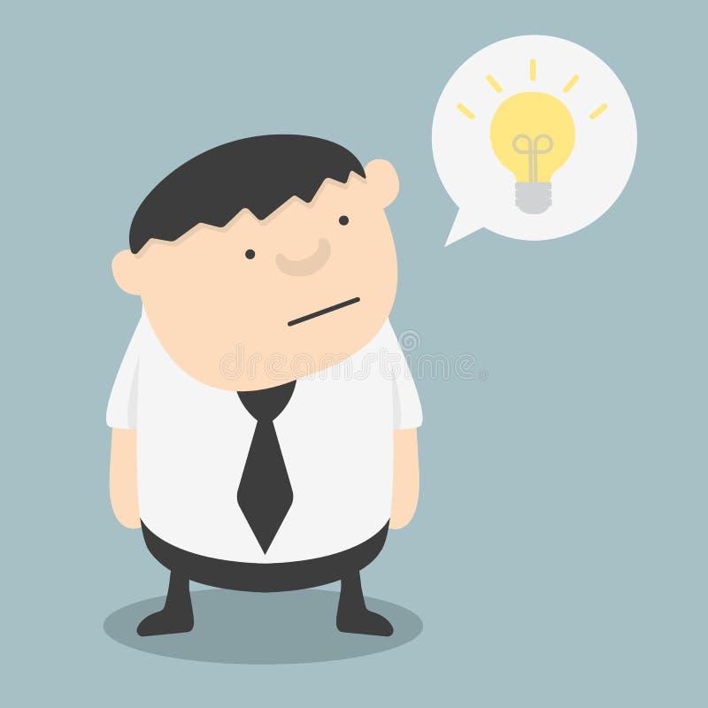 Fet affärsman med idéer själva stock illustrationer
