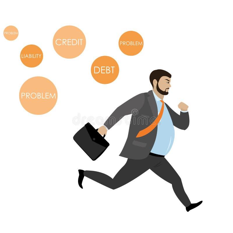 Fet affärsmanspring i väg från problemsymboler, royaltyfri illustrationer