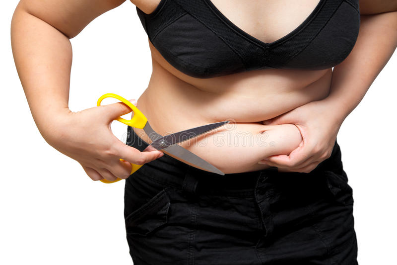 Fet cellulite för buk för kvinnasnittfetma vid begrepp för plastikkirurgi för saxviktförlust royaltyfria bilder