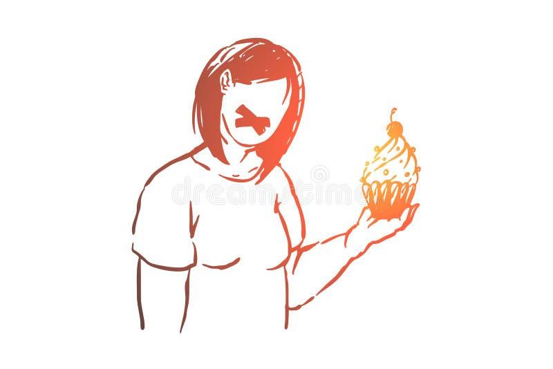 Fet dam med den tejpade munnen, sjukligt fet flicka som rymmer den l vektor illustrationer