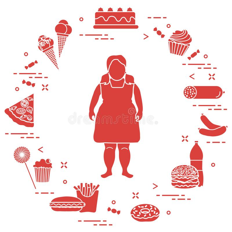 Fet flicka med sjukliga livsstilsymboler runt om henne Skadliga matvanor Design f?r baner och tryck vektor illustrationer