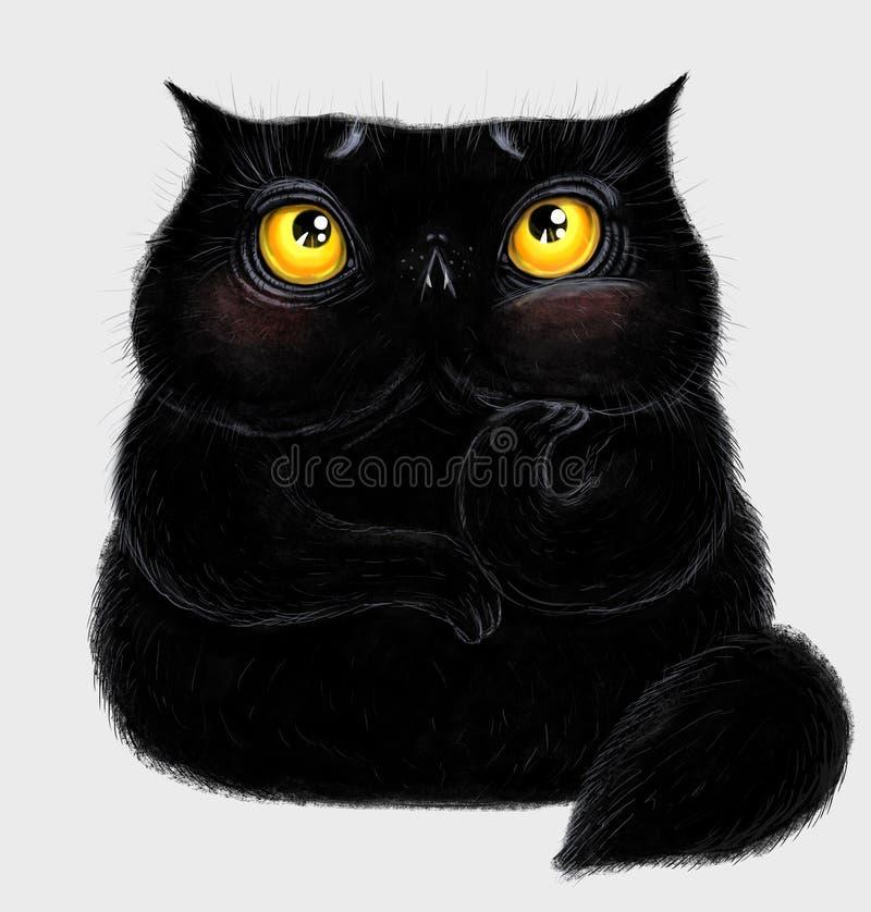 Fet fluffig svart katt royaltyfri illustrationer