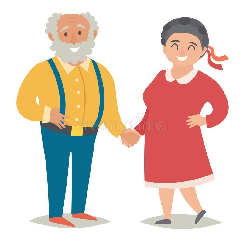 Fet gamla människor Plus formatgamla människor Lyckliga feta par, man och kvinnor Plan vektorillustration royaltyfri illustrationer