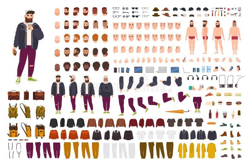 Fet grabbkonstruktöruppsättning eller DIY-sats Packen av plana kroppsdelar för tecknad filmtecken, poserar, gester, kläder som is stock illustrationer