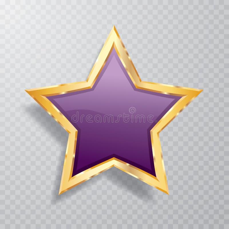 Fet guld- purpurfärgad stjärna royaltyfri illustrationer