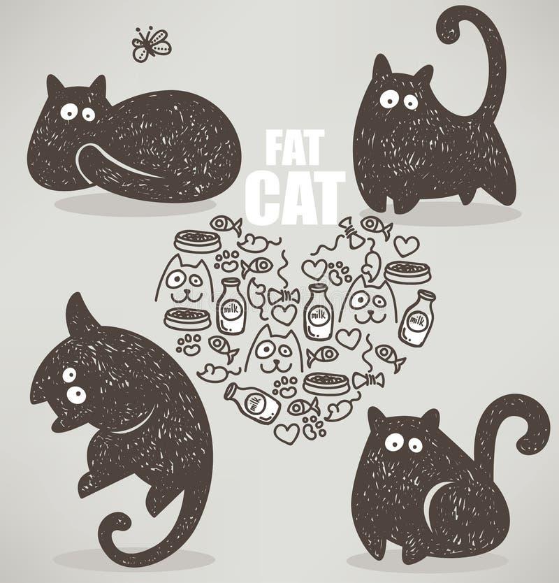 Fet katt royaltyfri illustrationer