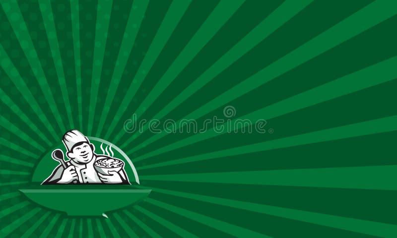 Fet kockkock Retro Holding Bowl Spoon stock illustrationer