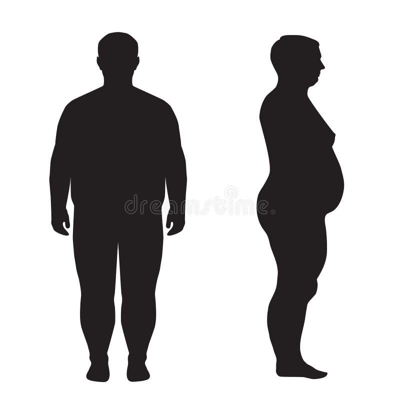 Fet kropp för vektor, viktförlust, vektor illustrationer