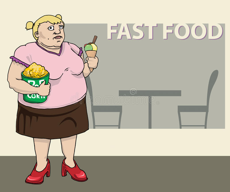 Fet kvinna med pophavre och glass vektor illustrationer