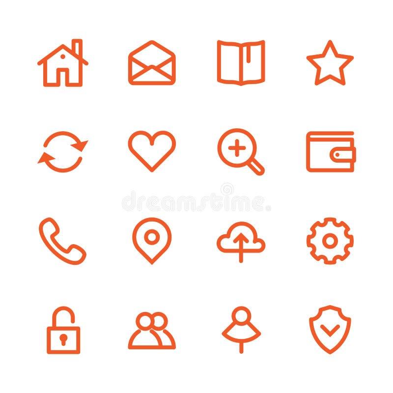 Fet linje symboler royaltyfri illustrationer