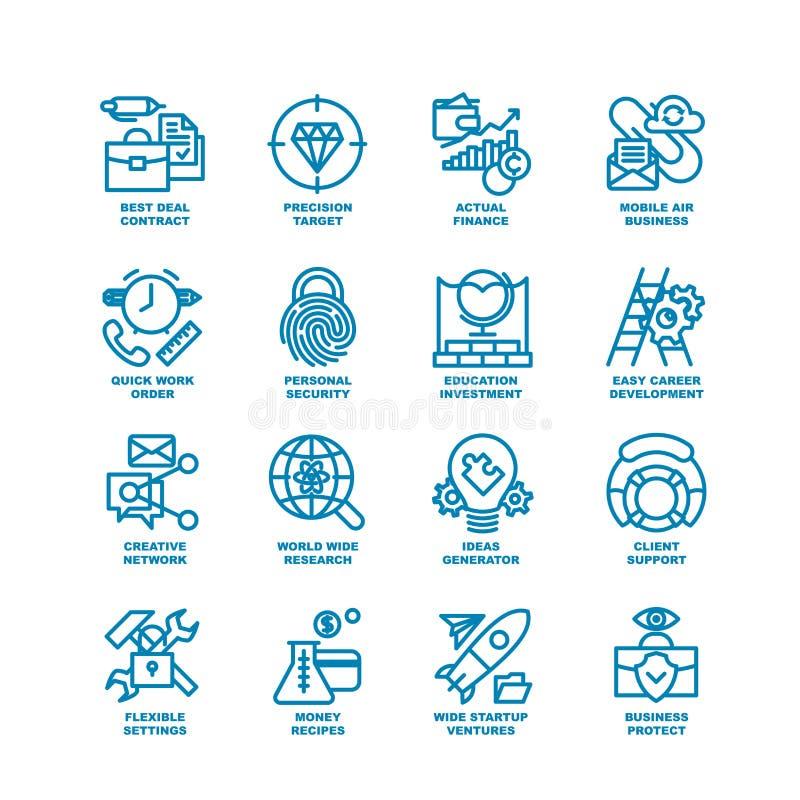 Fet linje symbolsuppsättning för affär royaltyfri illustrationer