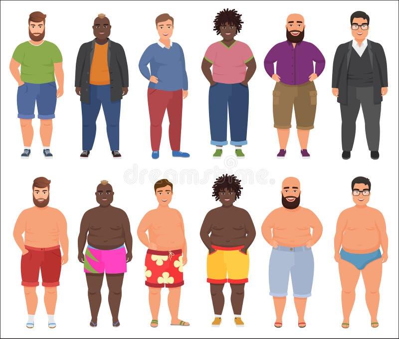 Fet man i tillfällig och för sommarunderkläderkläder uppsättning Plus manligt folk för format royaltyfri illustrationer