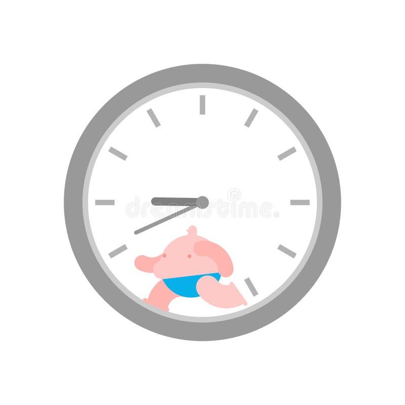 Fet man inom klockan f?rlora tid att weight stock illustrationer
