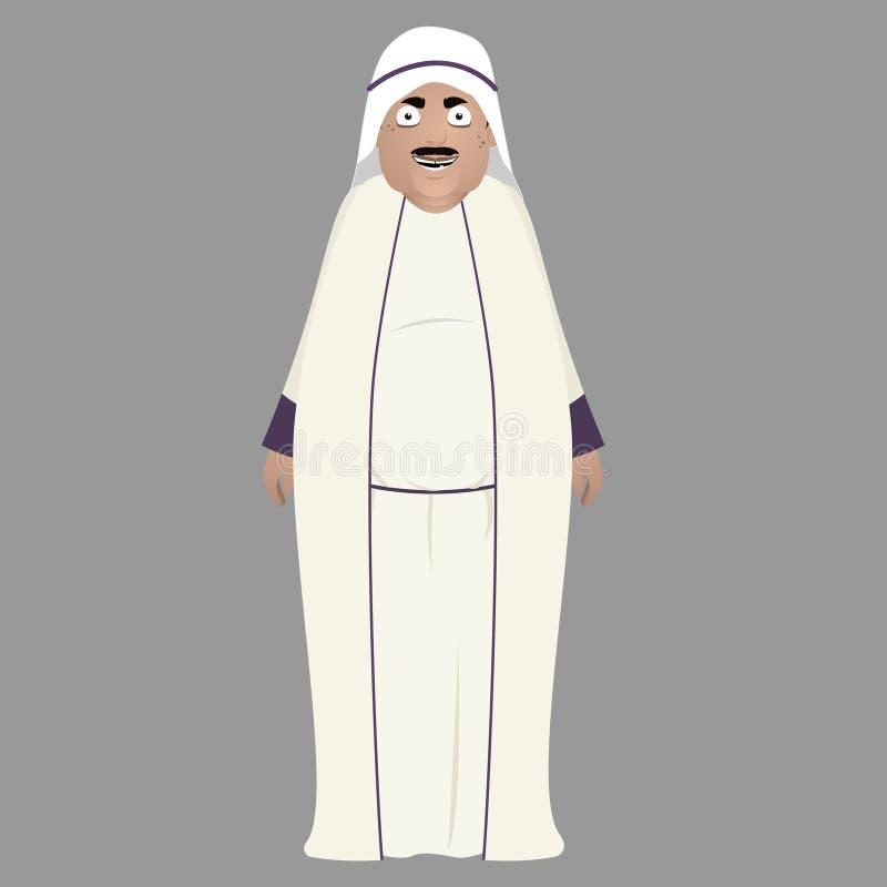 Fet manlig arabisk teckenillustration vektor illustrationer