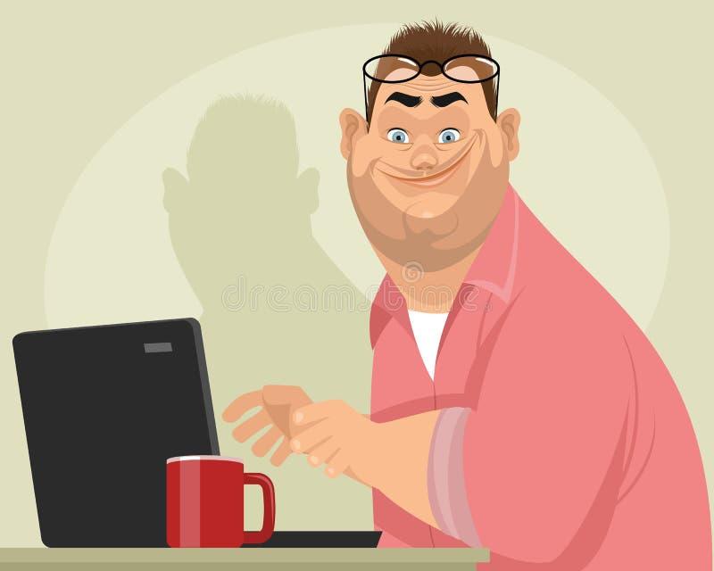 Fet manlig programmerare vektor illustrationer