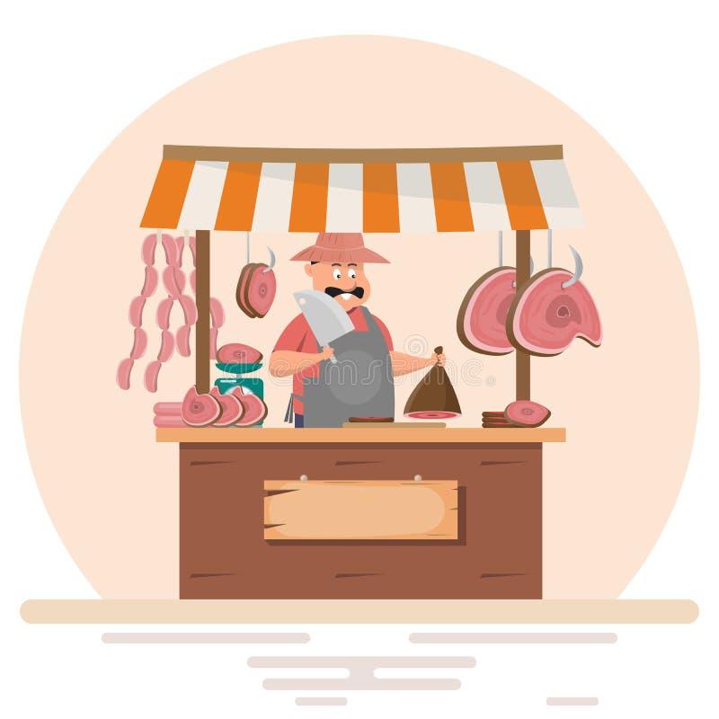Fet manslaktare som erbjuder nytt kött på fläskkotlettlagret royaltyfri illustrationer