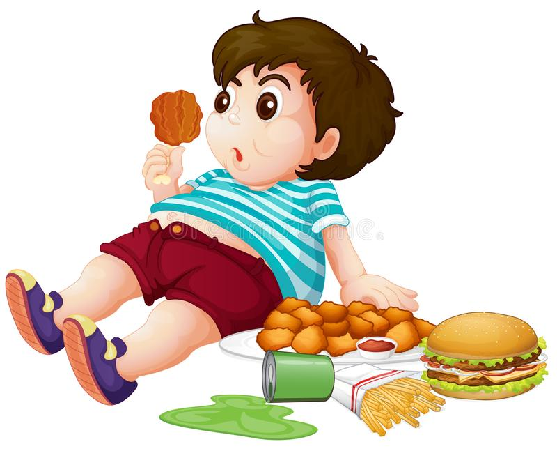 Fet pojke som äter junkfood stock illustrationer