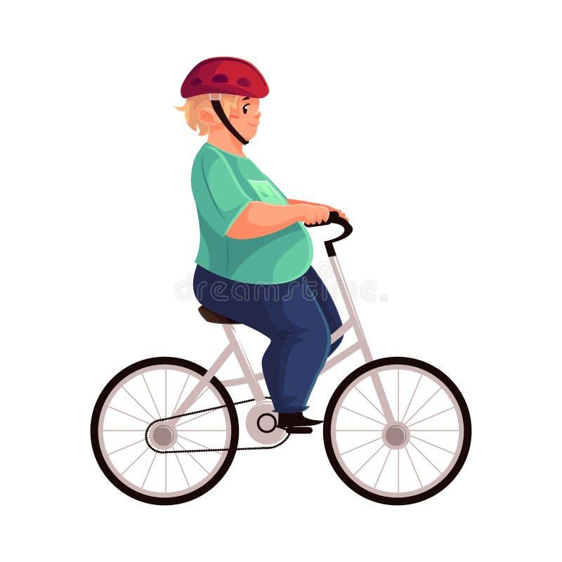 Fet pojke som cyklar och att rida en cykel, bärande hjälm royaltyfri illustrationer