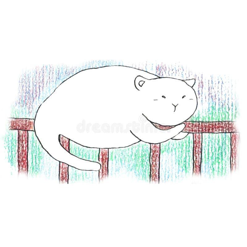 Fet rolig vit katt som sover på det bruna staketet vektor illustrationer