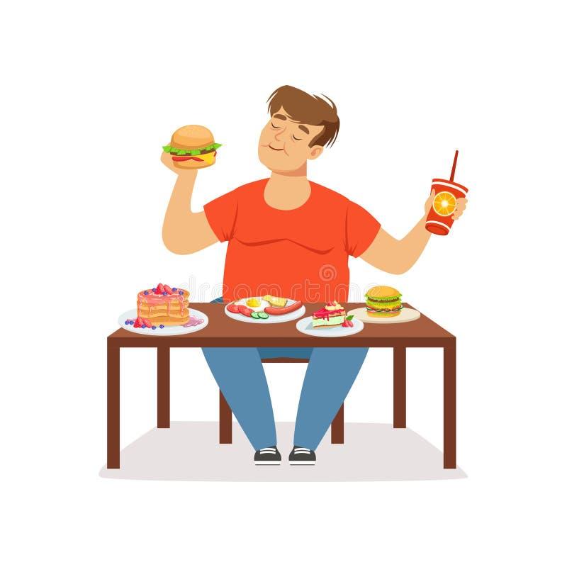 Fet sjukligt fet man som äter snabbmat, oskickvektorillustration vektor illustrationer