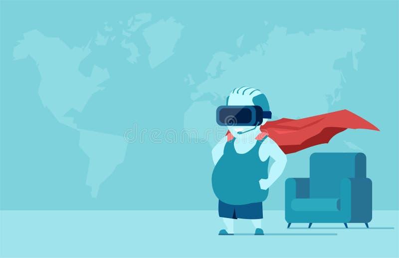 Fet ung man med VR-exponeringsglas i ett rum som föreställer vara en toppen hjälte royaltyfri illustrationer