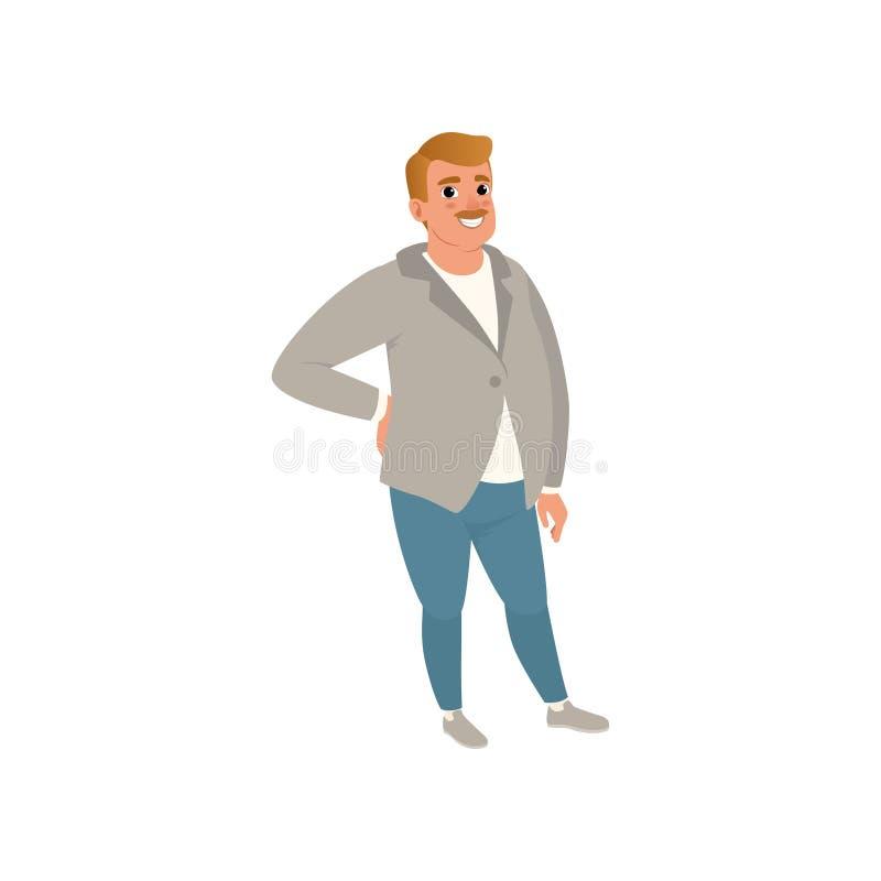 Fet vuxen man med att posera för mustasch som isoleras på vit Tecknad filmtecken av den caucasian mannen i den gråa koftan, t-skj vektor illustrationer