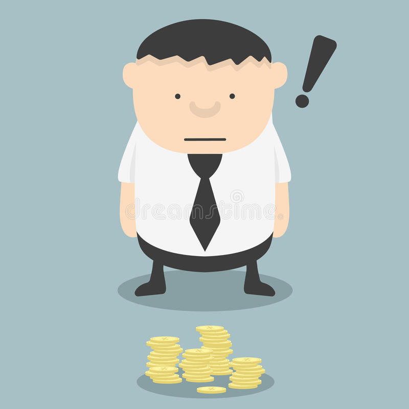 Feta affärsmän ser fann pengar stock illustrationer